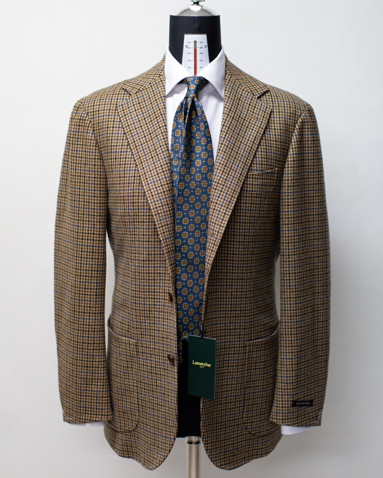 20FW Abrahammoon Hound tooth Navy Check Tweed Jacket BrownLamarche Napoli라마르쉐나폴리