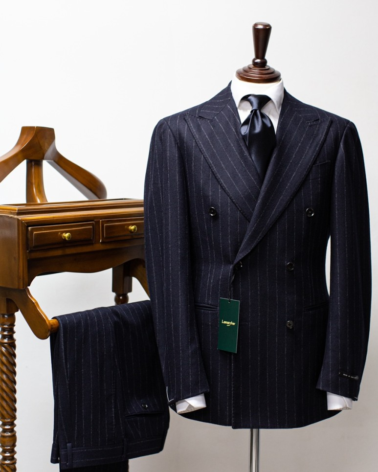 20FW Dark navy flannel Stripe Double SuitLamarche Napoli라마르쉐나폴리