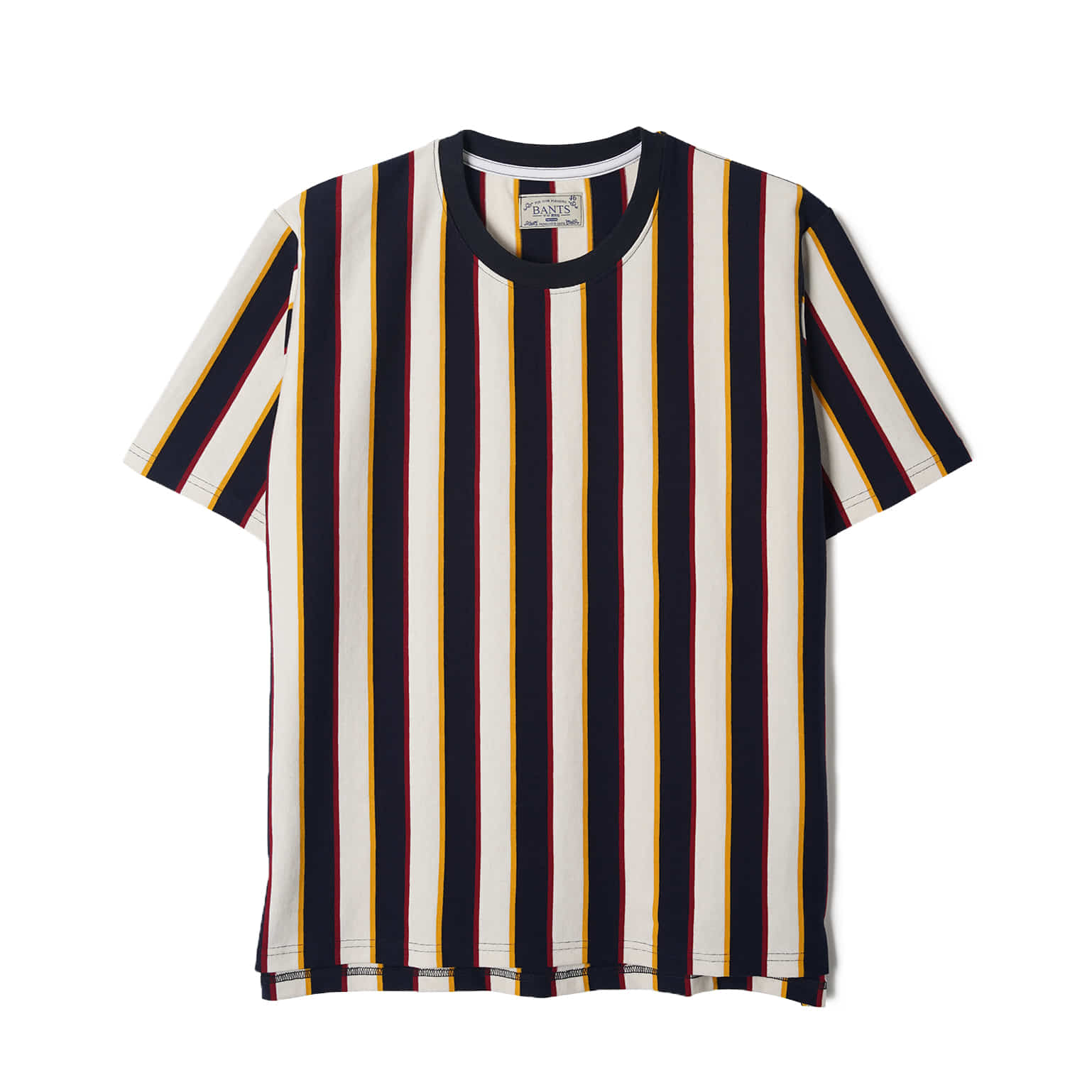 WSK Vertical Stripe Cotton T-shirt Half - Off White x NavyBANTS(반츠)
