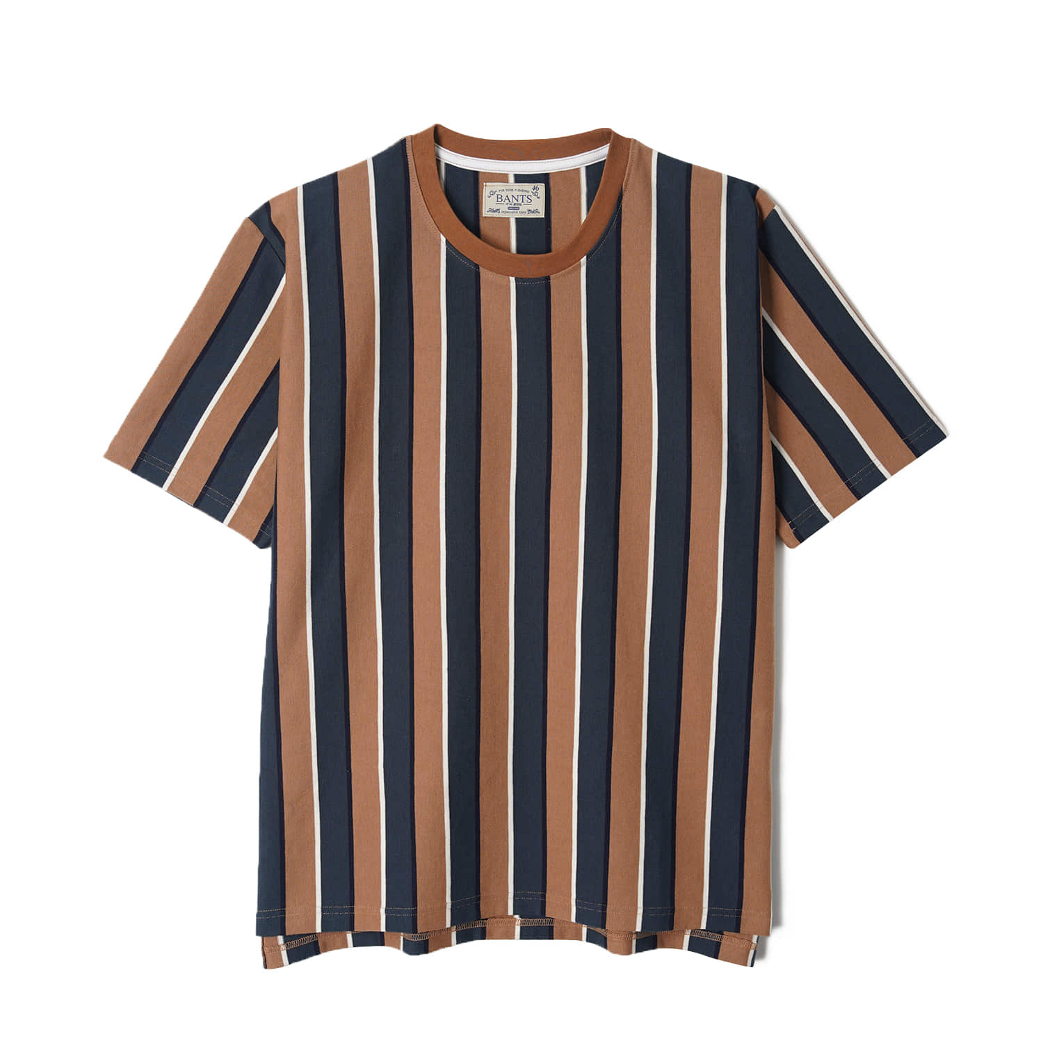 WSK Vertical Stripe Cotton T-shirt Half - Brown x GreenBANTS(반츠)