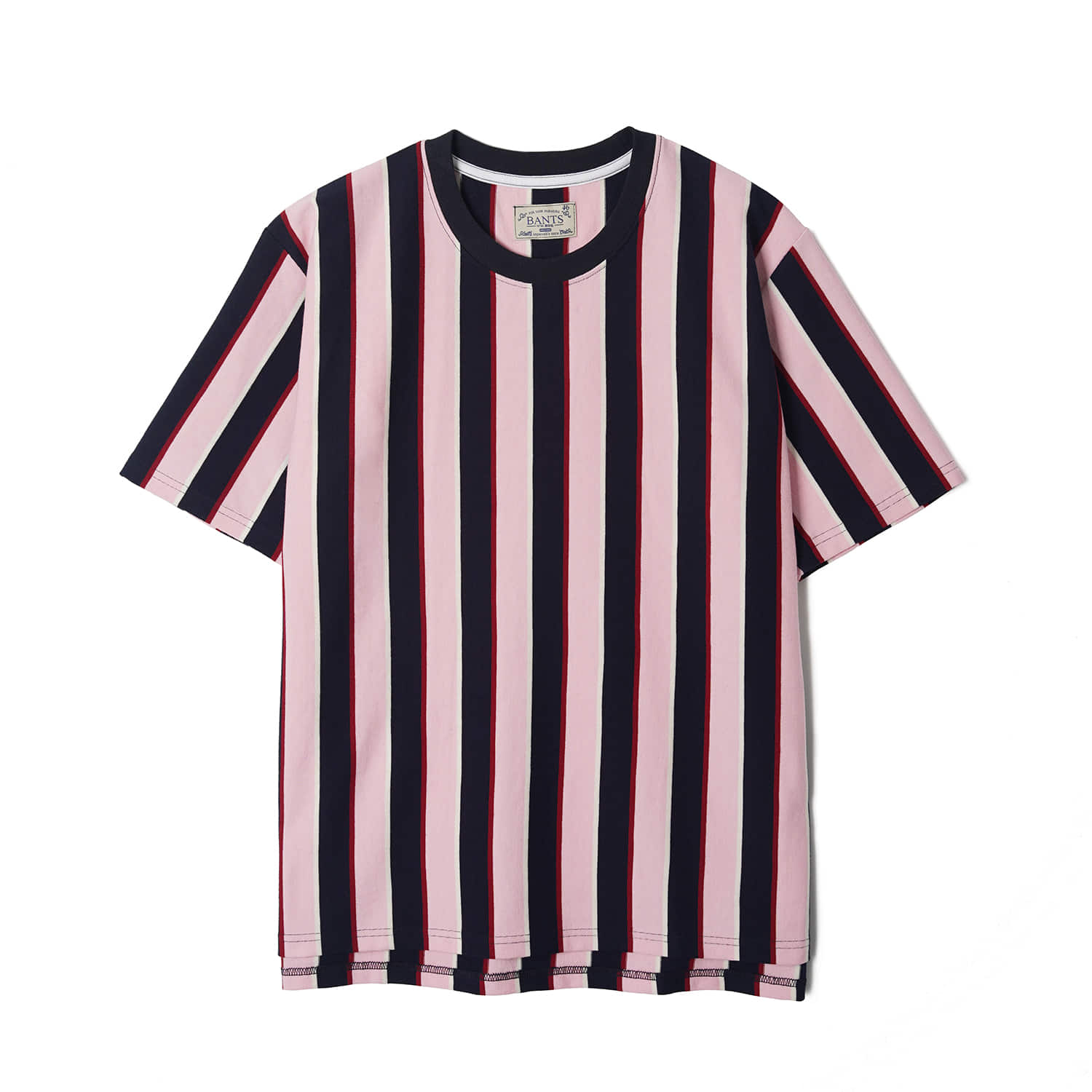 WSK Vertical Stripe Cotton T-shirt Half - Pink x NavyBANTS(반츠)