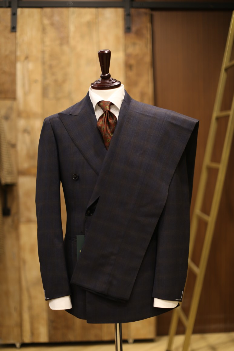 shopping Cheaper fascino dei costi navy X brown check four seasons double suitLamarche Napoli(라 ...