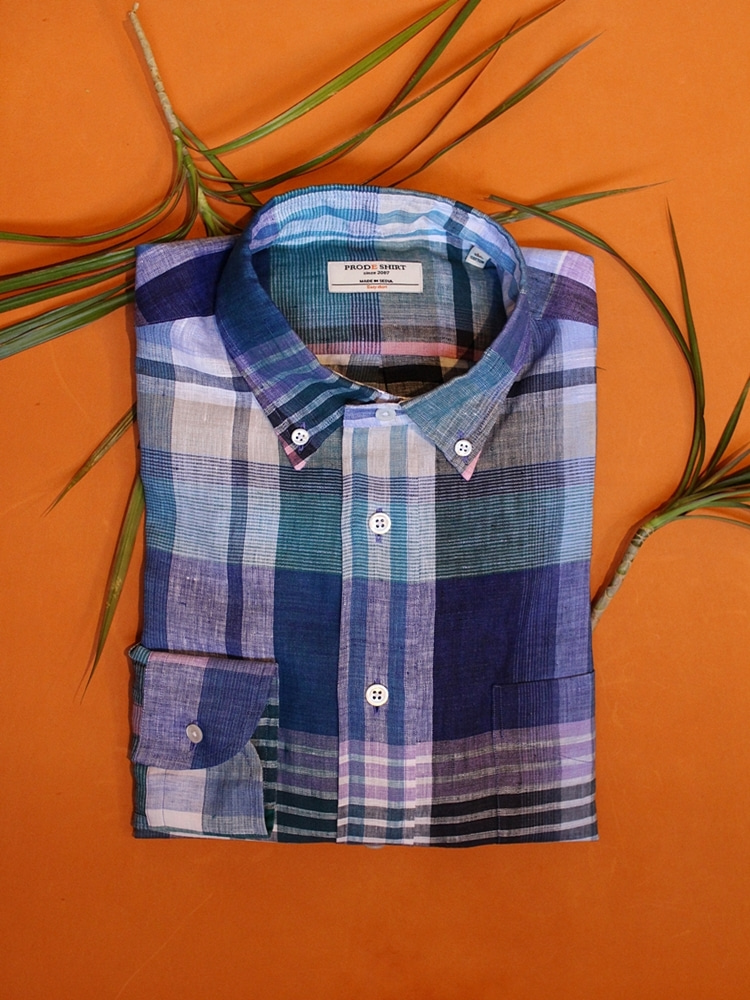 Madras check bluePRODE SHIRT X TANNERY프로드셔츠 X 테너리