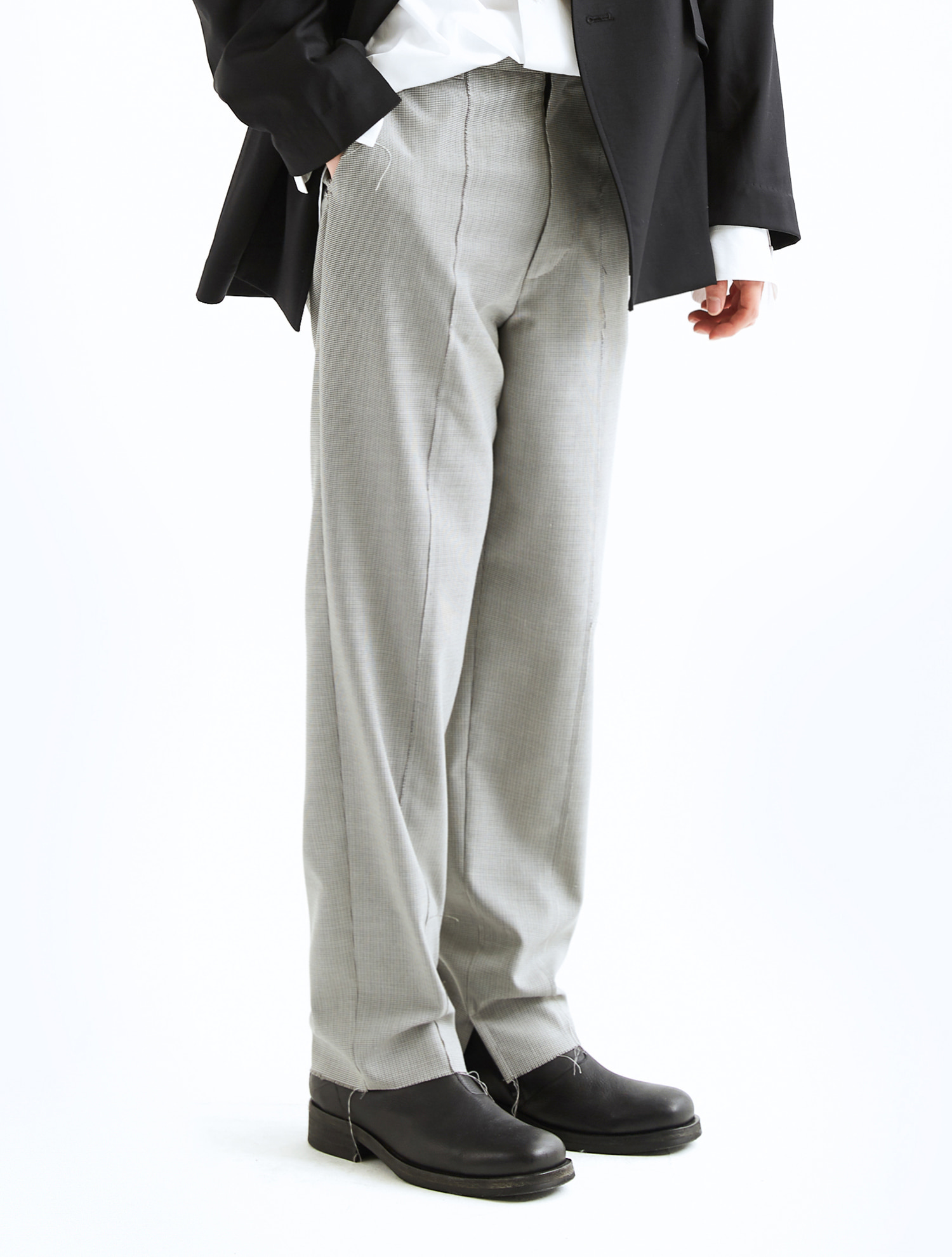 OVER LAP UNFINISHED WOOL TROUSERS / CHECKATE STUDIOS