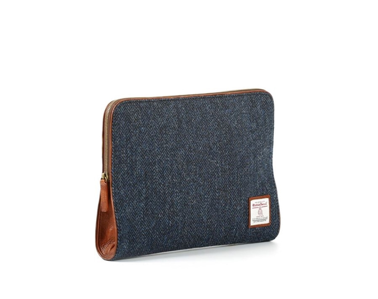 HARRIS TWEED LEATHER CLUTCH NAVYMASCOLANZA(마스콜란자)