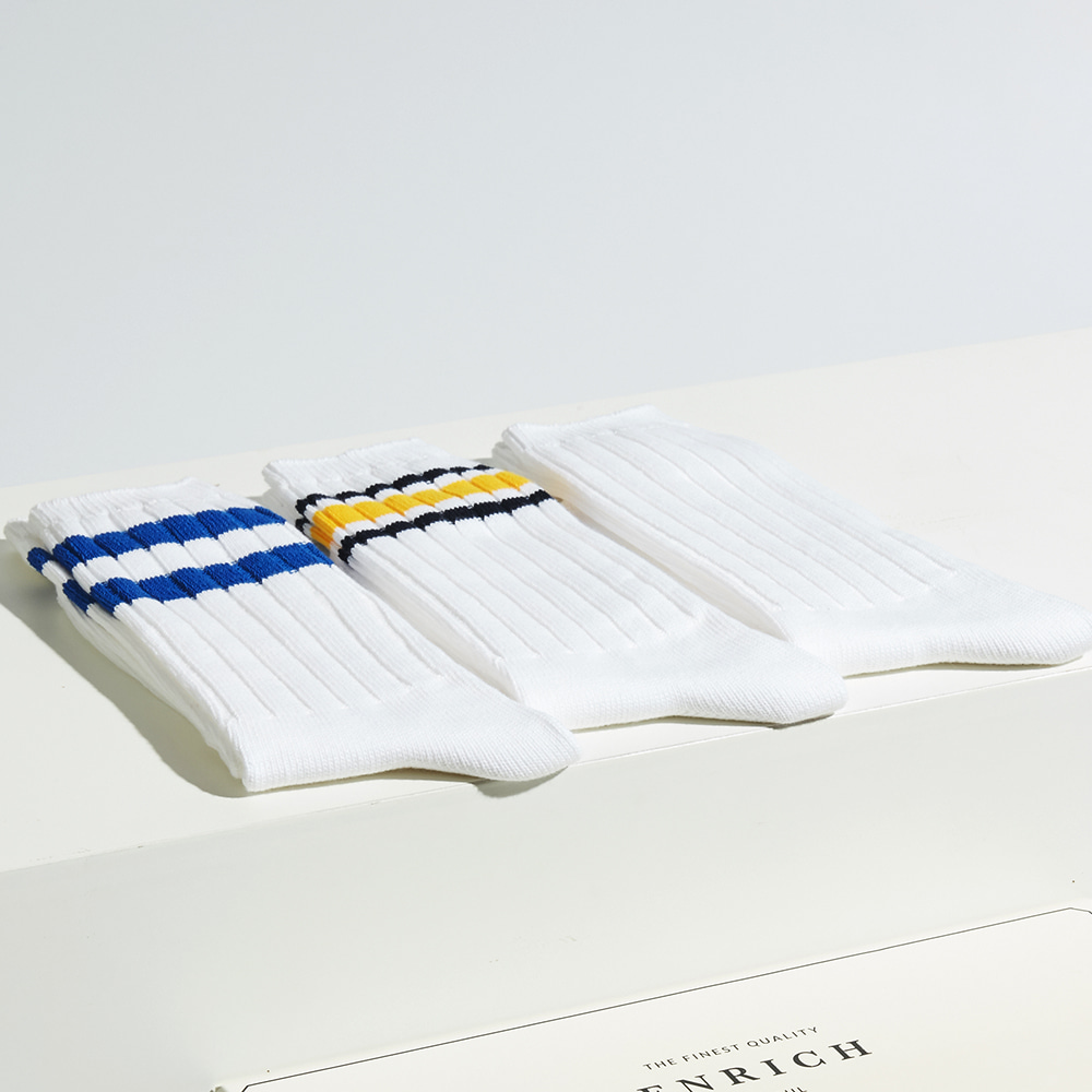 Heavy Weight Socks - 3P Set (Plain white, Blue stripes, Yellow & black stripes)ENRICH(인리치)